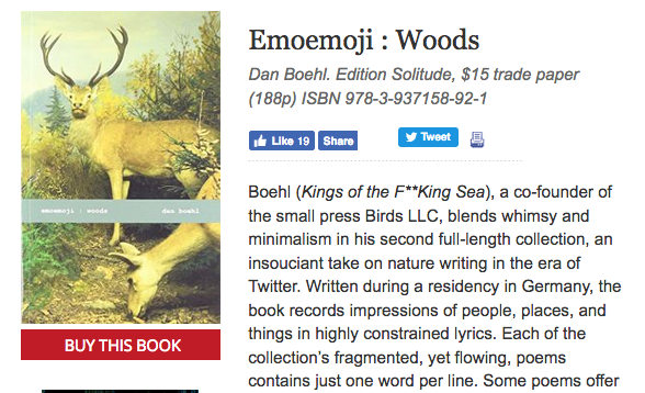 Dan Boehl emoemoji : woods reviewed in Publishers Weekly