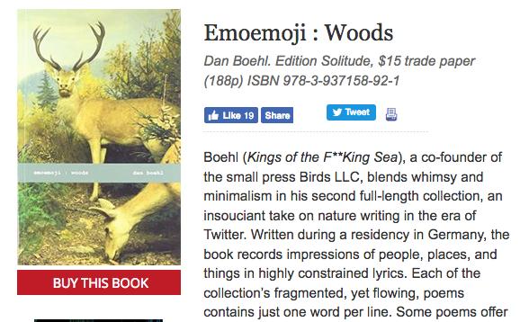 Dan Boehl emoemoji : woods reviewed in Publishers Weekly